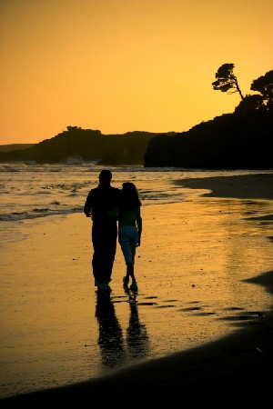 Sunset Stroll, Mendocino Bay, taken by Jim Moorehead