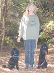 Nancy, Gilmour, and Peet on a walk