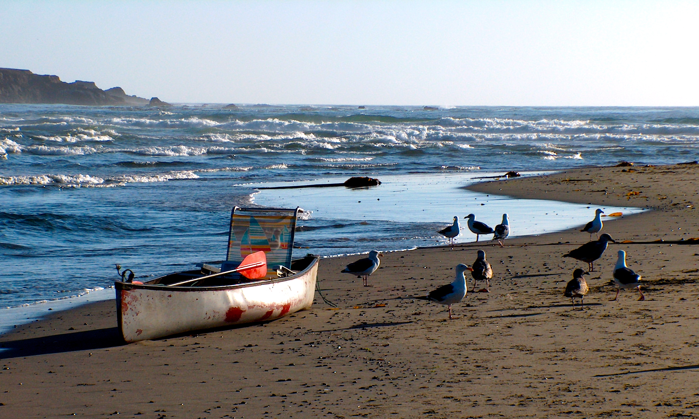 Canoe Beached At River Beach In Mendocino