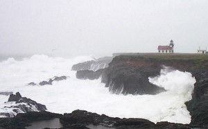 Winter storm crashing on the rocks at Point Cabrillo Lighthouse