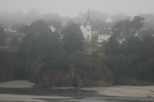 Mendocino Presbyterian Church Looms over Big River Beach in the Fog
